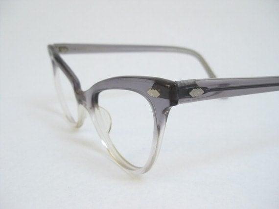 vintage 50s cat eye glasses gray ombre frames