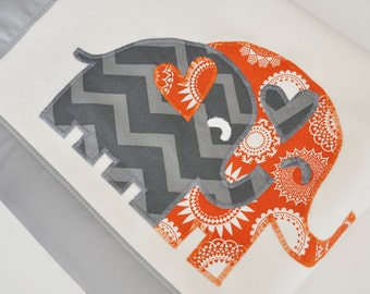 Organic Baby Boy Blanket with Elephants -- Gray and Orange