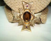AVON Gold Tone Topaz Maltese Cross Pin Pendant Combo.