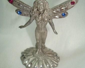 Vintage SPOONTIQUES Miniature Fairy On Daisy Flower.