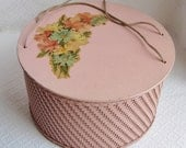 Vintage Princess Wicker Sewing Basket, Pink