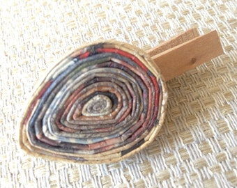 n.01 LAPEL CLIP - tie clip, hair clip TEAR drop Coiled paper recycled magazine