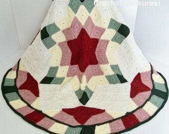 Prairie Star Quilt Block Afghan / new / handmade / throw blanket / decorative / green / rose / pink / gift / summer / Christmas / unique