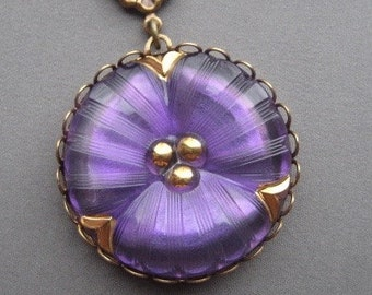 Pansy Necklace - Glass Necklace - Romantic Necklace - Flower Jewelry - Victorian Jewelry - Floral Necklace - Purple Jewelry - Pansies