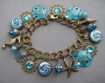 Ocean Bracelet - Nautical Bracelet - Beach Jewelry - Ocean Jewelry - Beach Bracelet - Nautical Jewelry - Blue Jewelry - Aqua Jewelry