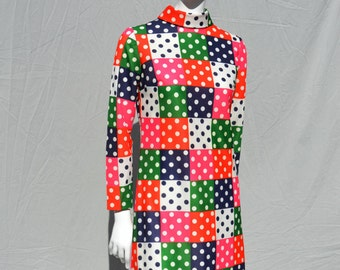 Vintage 70's MOD polyester dress multicolor polka dot space age dress home made sM by thekaliman