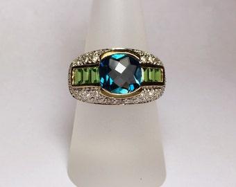 Topaz, Tsavorite Garnet, Diamond Gold Ring
