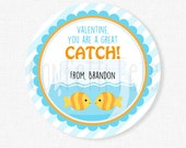 Valentine's Day Goldfish Tags, You're a Great Catch Tag, Fish Valentine Tags, Blue and Orange, Goldfish Crackers Tag, Personalized