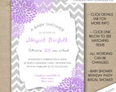 Lavender Baby Shower invitations, FREE SHIPPING, lavender grey dahlias, purple gray floral bridal shower invites, birthday party
