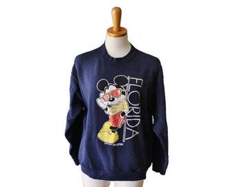30% off sale // Vintage 80s MICKEY MOUSE in Sunglasses Florida Sweatshirt - Women M - Velva Sheen