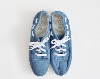 BLOWOUT 40% off sale Vintage Denim Lace Up Flats - Women 10M - Early 90s, Summer Shoes
