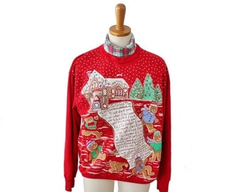 BLOWOUT 40% off sale Vintage Ugly Christmas Sweater - Red Novelty Sweatshirt Women Men M - Gingerbread Man