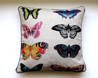 Botanical butterflies, Harlequin Fabrics Papilio, turquoise, pink, green linen cushion cover, throw pillow cover, home decor, 18 X 18 ins.