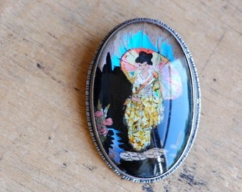 Vintage English butterfly wing brooch with opal and sterling ∙ Geisha butterfly wing brooch