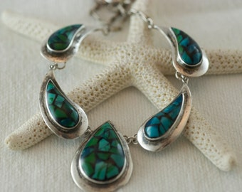 Vintage Sterling Silver Faux Eilat Stone Mosaic Made in Israel Statement Necklace  .....6110