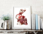 bunny poster in amaranth leaves, bunny silhouette art, 8x10 rabbit print, animal nursery decor, whimsical animal art, red nature home decor