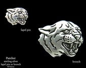 Panther Lapel Pin or Panther Brooch Sterling Silver Black Panther