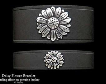 Daisy Leather Bracelet Sterling Silver Daisy Flower on Leather Bracelet