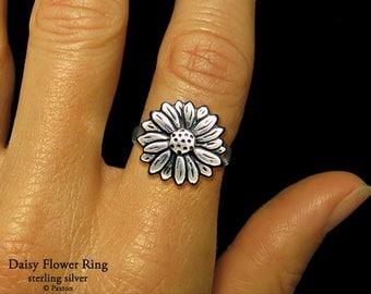 Daisy Flower Ring Sterling Silver Daisy Ring