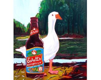 Schell's Goosetown Ale, Minnesota Brewery, Goose Painting, Kitchen Bird & Beer Art, August Schell Brewing, Craft Beer Gift for Her, Bar Art