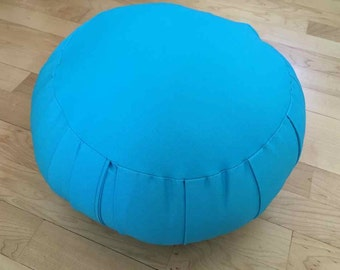 Zafu Meditation cushion, Turquoise cotton twill, filled with wool, feels like sitting on a cloud!