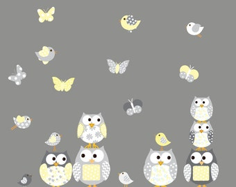 Owl Nursery Wall Decals Bird Butterfly wall decals