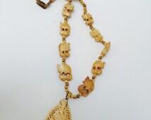 Miriam Haskell Beaded Elephant Pendant Necklace