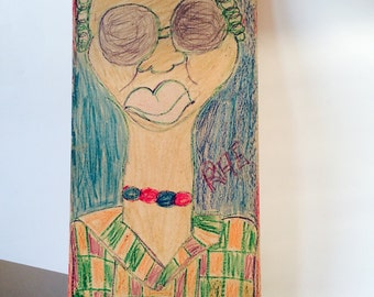 Helen Rae Outsider Art Female Portrait Crayon