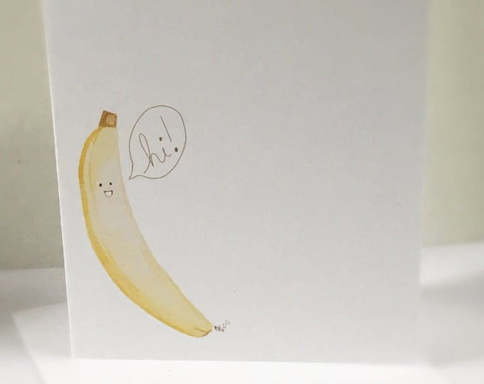 Banana Pun Card, I Hope your birthday is very apeeling, Banana Birthday Card, doodle made on recycled paper, comes with envelope and seal