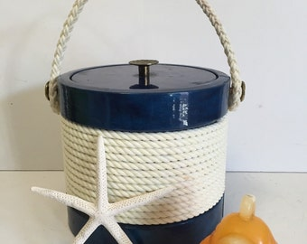 NAUTICAL ICE BUCKET Navy Blue and White Rope, Clean by Kraftware 5th Avenue New York at Modern Logic