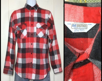 Vintage 1970's 5 five Brother Heavy Flannel buffalo Plaid Shirt size Medium Tall Man Red faded Black White worn soft