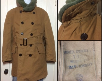 1950's 1952 Extreme Cold Weather belted coat size 40 Shawl Collar Double Breasted duck cloth canvas fleece lined Peerless Garments stamped