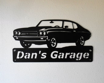 1970 Chevelle - Personalized Metal Sign- Man Cave- Classic - Muscle Car -Garage Sign -Satin black