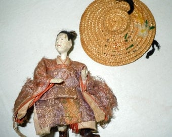 Antique Edo era gofun Doll with Glass eyes
