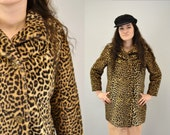 Cheetah faux fur coat 60s rocker rock and roll hipster glam winter classic 1960s jacket indie punk festival IngridIceland medium
