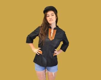 Festival tunic bohemian hipster ethnic boho zip up nehru collar medium large Ingrid Iceland 1960s