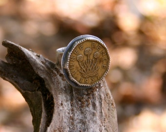 Three Pence Great Britain 1937 Coin Sterling Silver Oxidized Statement Boho Tribal Vintage Ring