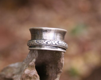 Sterling Silver Sprinner Oxidized Boho Gypsy Southwestern Large Statement Band Ring