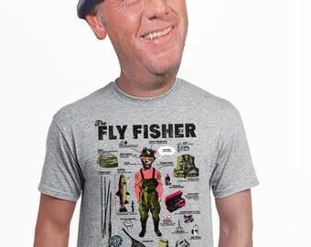 Fly fishing tshirt etsy for 4xl fishing shirts