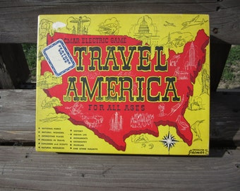 Vintage Electric Jacmar Travel America Game from 1950's ... working condition with bulb lighting with correct answers