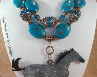 Western Cowgirl Statement Necklace Set - Chunky Dark Turquoise Howlite - Hand Painted Grey Horse