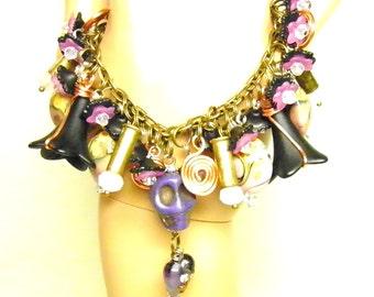 Day of the Dead Bracelet, Frida Kahlo Cha Cha Bracelet, Purple Turquoise Skull Jewelry, Day of the Dead Jewelry, Skull Bracelet, OOAK #2