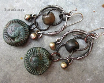 Supersonic artisan earrings primitive tribal  sculptures boho polymer clay discs ammonites mixed metals rustic mobiles jewelry assemblage