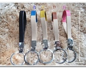 genuine leather webbing Strap wristlet key fob key chain key ring