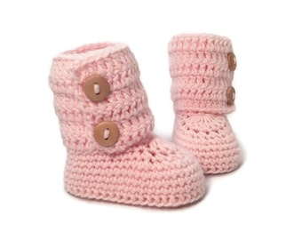 Pink Crochet Baby Booties Merino Wool Newborn Crib Shoes Baby Slippers Knitted Baby Booties Girl Baby Gift by Warm and Woolly on Etsy
