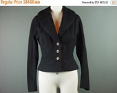 40% OFF 50s Black Wool Jacket Vintage 1950s Split Shawl Collar Fitted German Buttons S M