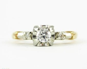 1940s Diamond Engagement Ring by Birks Canada, Vintage Three Stone Diamond Ring in Yellow & White Two Tone Gold.