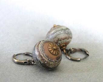 Glass Blown Dangle Earrings / Dangle Earrings / Drop Earrings / Gift for Her / Boho Chic Earrings / Rustic Earrings / Birthday Gift
