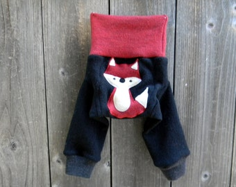 NEWBORN Upcycled  Merino Wool Longies Soaker Cover Diaper Cover With Added Doubler Red / Black Stripes With Fox Applique NEWBORN 0-3M