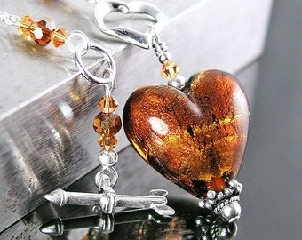Amber Murano Glass Heart Necklace Sterling Silver Necklace 24k Gold Genuine Venetian Glass Topaz Amber Heart Pendant Necklace Heart Jewelry